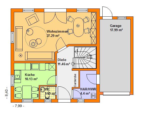Grundriss einfamilienhaus mit integrierter garage  Familienhäuser